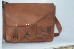 Unisex Vintage Brown Plain Laptop Bag