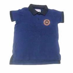 Half Sleeves Casual Wear Kids Boy Blue Collar T Shirt