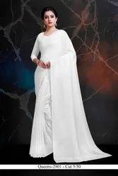 Wedding Plain White Small Butti Chiffon Saree, 5.5 m (Separate Blouse Piece)