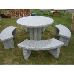 Stone Round Table Set