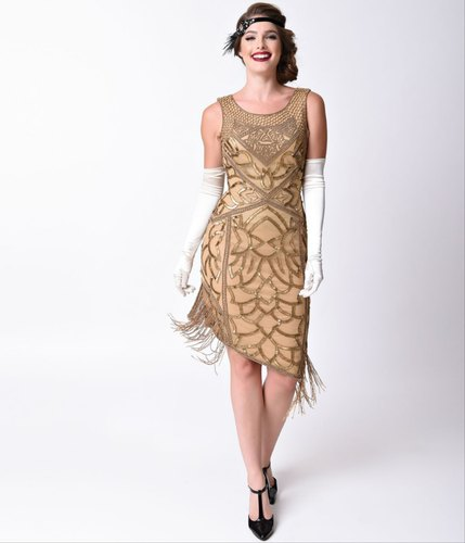SI Fashion Round Neck Antique Gold Beads & Sequin Flapper Dress