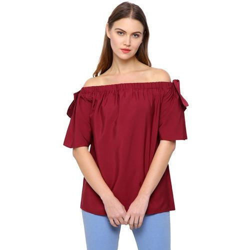 60402ad61254 Polyester Crepe Maroon Designer Off Shoulder Top
