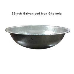 Galvanized Iron Silver Color Ghamela, Size: 22 inch