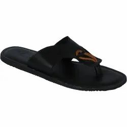 Black Synthetic Leather Vonzo Mens Formal Slipper/ Flip-Flops/Chappal 4007, Size: 5 To 11
