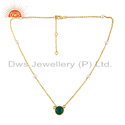 Pearl & Green Onyx Gemstone Gold Plated Silver Necklace