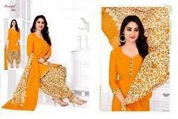 A-Line Stitched Pranjul Priyanka Cotton Suit, Machine wash