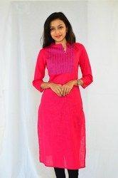 Stylish Cotton -Slub Embroidered Kurti - Pink