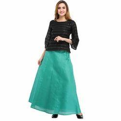 Cottinfab Solid Green Ethnic Long Skirts