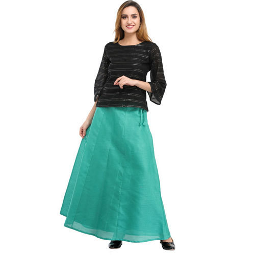 Cottinfab Solid Green Ethnic Long Skirts, Size: 28, 30, 32, 34, 36