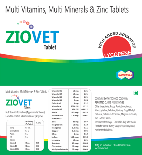 Carewell Men and Women Multivitamin-Minerals Zinc Tablets
