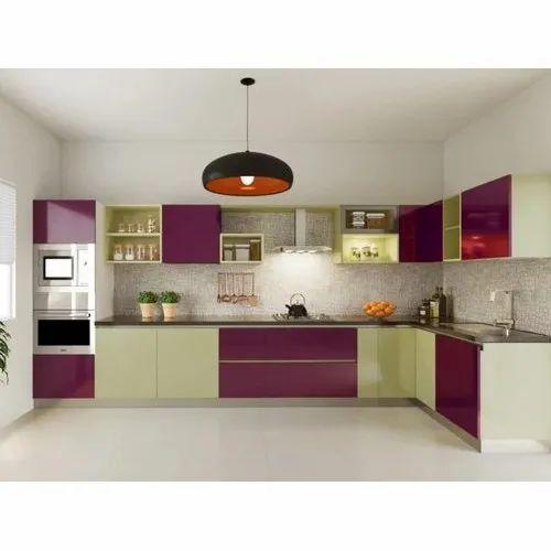 L Shape Acrliyc Modular Kitchen, Warranty: 5 Years