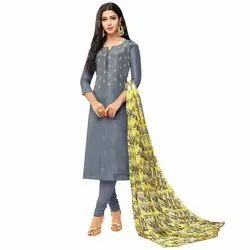 Rajnandini Grey Chanderi Silk Embroidered Semi-Stitched Dress Material With Printed Dupatta