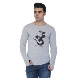 Printed Round Mens Casual Wear Cotton T Shirt, Size: S-XXL