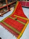 Ladies Temple Border Khadi Cotton Handloom Saree
