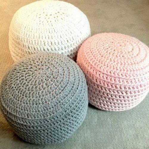Crochet Pouf क्रोचेट पफ Living Room Amp Plastic Furniture