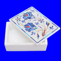 Floral Painting Decorative Marble Box For Jewellery