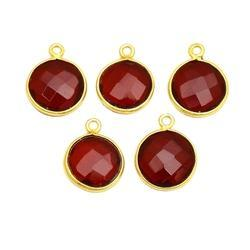Garnet Gemstone Bezel Set Connector