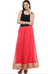 Classic Coral Pink Readymade Skirt
