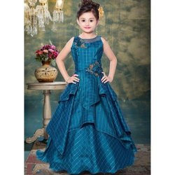 Wedding Wear Blue Girls Sleeveless Gown