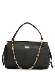 Yelloe Black Synthetic Leather  Hand Bag With Stylish Front