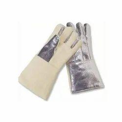 White Aluminized Hand Safety Gloves