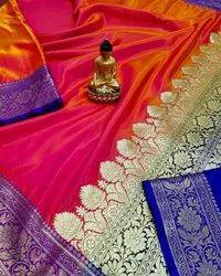 Party Wear Multicolor Banarai Saree,  5.5 M (separate Blouse Piece)