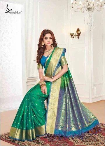 f74dae0b53 Green Color Art Pattu Silk Saree at Rs 2799 | Designer Art Silk ...