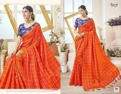 Fancy Party Orange Designer Saree