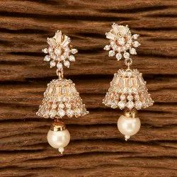 Brass Festival Cz Jhumki Earring with Rose Gold Plating 402031