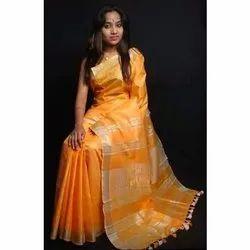 Casual Wear Plain Ladies Cotton Salub Saree, With blouse piece, 6.3 m