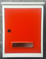 Ivory Red Window Letter Box
