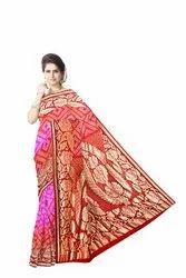 Pink And Red Color Fancy Design  Banarasi Georgette Saree