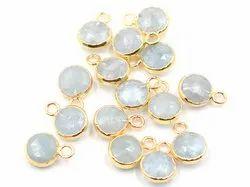 Aquamarine Round Shape Gold Plated Pendant
