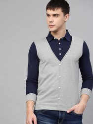 Seven Rocks Full Sleeve Blue and Grey Jacket Attached t-Shirt, Size: S to XXL
