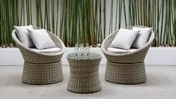 Outdoor Wicker Coffee Set 2 Chairs & 1 Table Set
