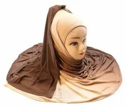 Beige Color Outdoor Wear 2 Shade Soft Jersey Stretchable HIjab Scarf Dupatta