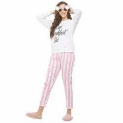 Pink & White Cotton evolove Printed Ladies Night Suits(Pajama Set)