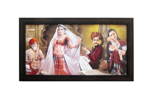 Matte Finish Synthetic Wood Rajasthani Art Printed Texture Wall Painting 12x24 inch