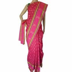Chanderi Block Printed Pink Saree, 5.5 M (separate Blouse Piece)