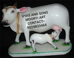 Marble Cow And Calf Statue