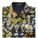 Mens Floral Printed Cotton Causal Shirt