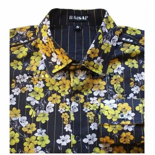 Collar Neck Casual Wear Mens Floral Printed Cotton Causal Shirt, Size: S