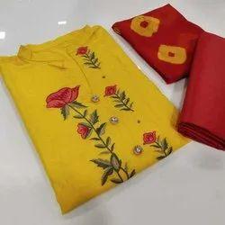 Unstitched Mustard,Red Flower Printed Ladies Cotton Suit, Machine wash
