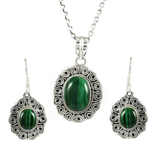 925 Sterling Silver Malachite Pendant