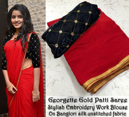 ce8fc374adfb3 Plain Party Wear Latest Embroidery Worked Blouse with Georgette Fabric Saree