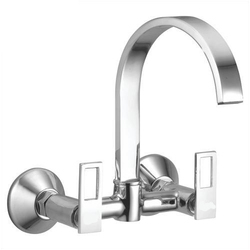 Silver Brass Double Knob Sink Mixer, Packaging Type: Box