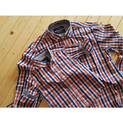 Cotton Party Wear Father Son Combo Checked Shirt