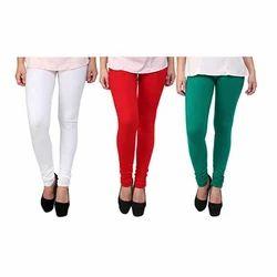 Ladies Plain Cotton Lycra Churidar Legging