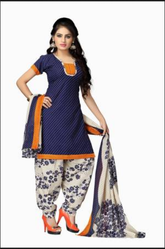 Multi Color Printed Vaamsi Womens Blended ALine Dress Material Deep1017 Blue