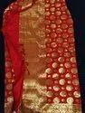 Ladies Jacquard Red Silk Saree